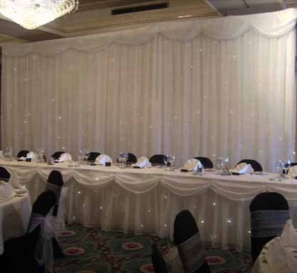 New for 200910 Our stunning Starlight Backdrop Wedding Arch Table Skirt